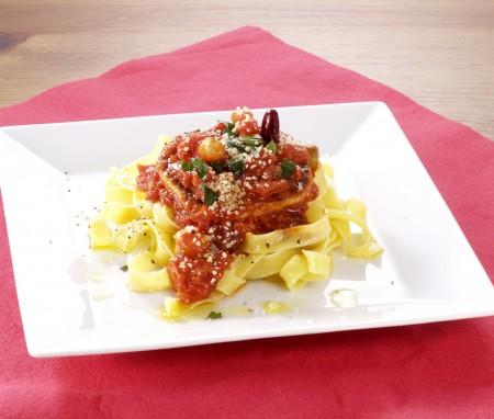 イワシハンバーグのトマトパスタ